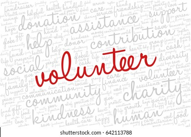"""Word cloud containing words related to charity, assistance, health care, kindness, human features, positivity, volunteering, donations, help and similar.  Word """"volunteer"""" emphasized."""