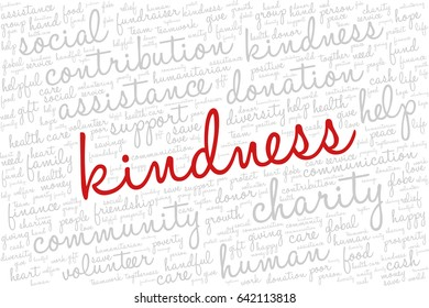 """Word cloud containing words related to charity, assistance, health care, kindness, human features, positivity, volunteering, donations, help and similar.  Word """"kindness"""" emphasized."""