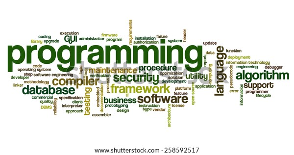 Word Cloud Containing Words Related Software Stock Vector