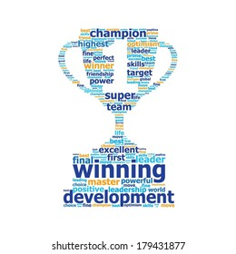 Word cloud cup prize with number one