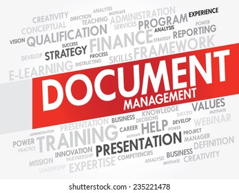 Word cloud of Document Management related items, vector presentation background