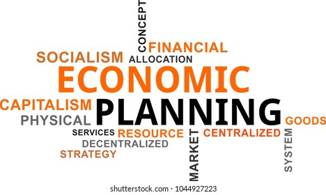 A word cloud of economic planning related items