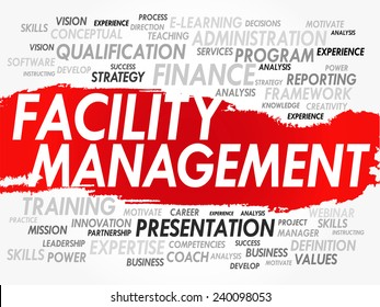 Word cloud of Facility Management related items, vector background
