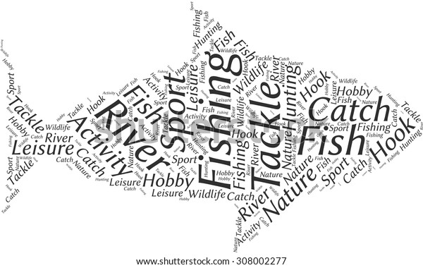 Word cloud in the form of an abstract fish