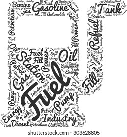 Word cloud in the form of an abstract gas station pump