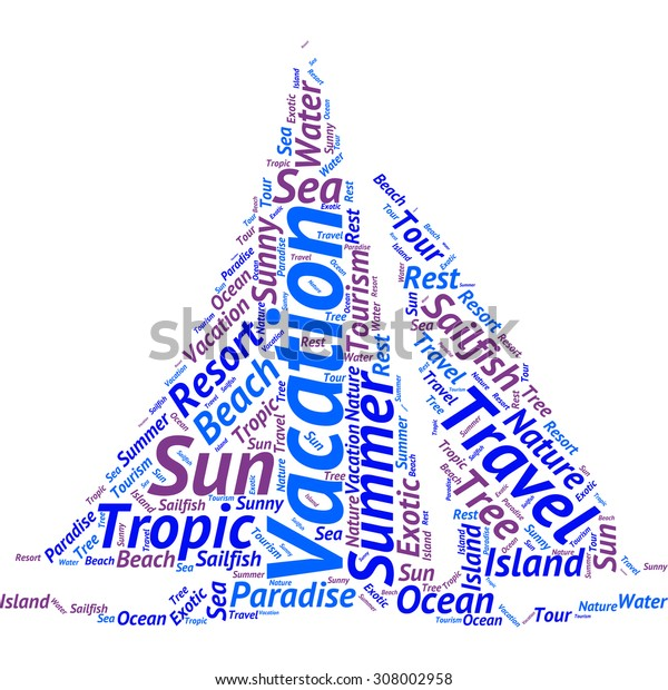 Word cloud in the form of an abstract sailing boat