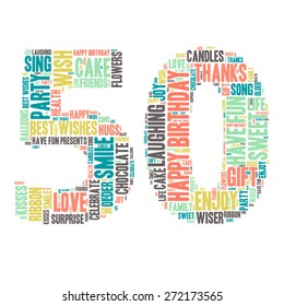 Word Cloud - Happy Birthday Celebration colorful wordclouds about celebrating your 50th birthday ;) blue, green, yellow, pink, grey. Fifty