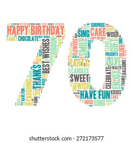 Word Cloud - Happy Birthday Celebration colorful wordclouds about celebrating your 70th birthday ;) blue, green, yellow, pink, grey, Seventy