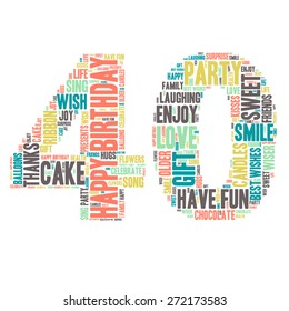 Word Cloud - Happy Birthday Celebration colorful wordclouds about celebrating your 40th birthday ;) blue, green, yellow, pink, grey. Forty