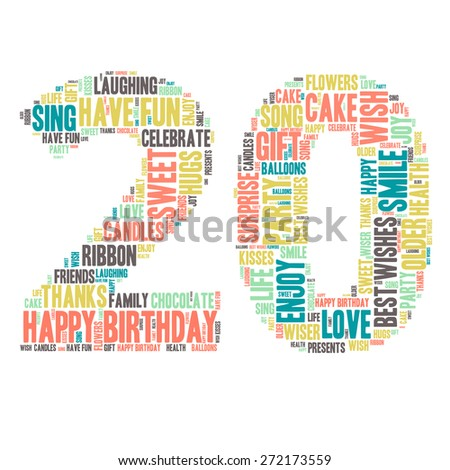 word cloud happy birthday celebration colorful stock vector royalty
