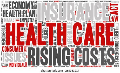 Word Cloud - Health Care Issues. wordclouds about healthcare, insurance, costs and plans Red, grey, white. Isolated on White Banner