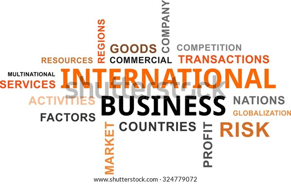Word Cloud International Business Related Items Stock Vector
