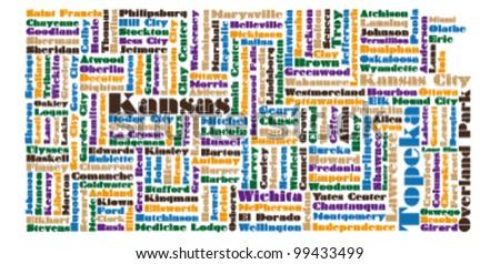State Map Of Kansas.Word Cloud Map Kansas State Stock Vector Royalty Free 99433499