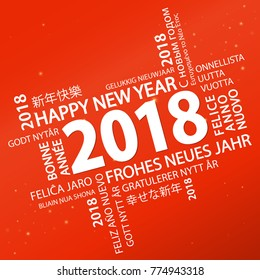 word cloud with new year 2018 greetings and red background