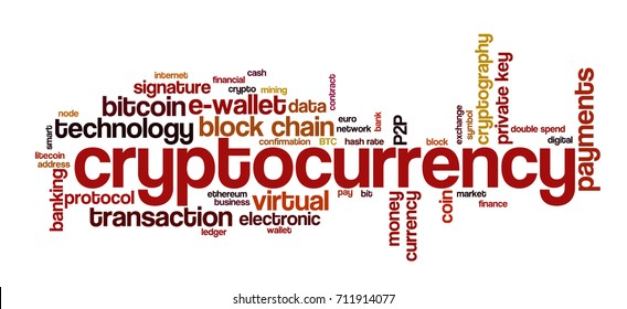 """Word cloud related to bitcoin, cryptocurrency, virtual money and transactions; word """"cryptocurrency"""" emphasized"""
