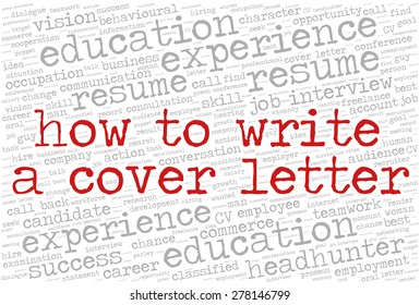 """Word cloud related to job interview, employment and recruitment. Words """"How to write a cover letter"""" emphasized."""