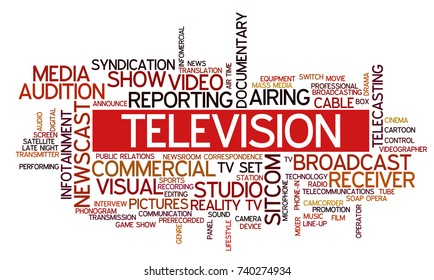 """Word cloud related to TV business, with keywords dealing with broadcasting, television, communication, documentary, infotainment, entertainment, tv shows; word """"television"""" emphasized"""
