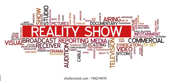 """Word cloud related to TV business, with keywords dealing with broadcasting, television, communication, documentary, infotainment, entertainment, tv shows; word """"reality show"""" emphasized"""