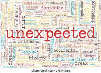 """Word cloud related to unexpected and unusual things. Word """"unexpected"""" emphasized."""