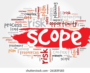 Word Cloud with SCOPE related tags, business concept