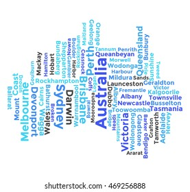 Word Cloud of the Shape of Australia Continent , with Names of Geographic Area and Major Cities.