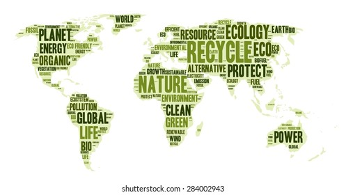 Word cloud in a shape of world map, eco theme, vector illustration