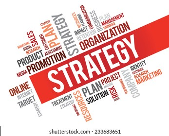 Word Cloud with Strategy related tags, vector business concept