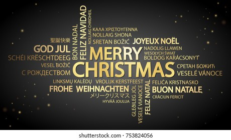 Word cloud with text Merry Christmas in different languages, in the middle one oversized and bold written in English