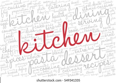 """Word cloud with words related to gastronomy, cooking, cuisine, healthy eating, food, catering with word """"kitchen"""" emphasized in red"""