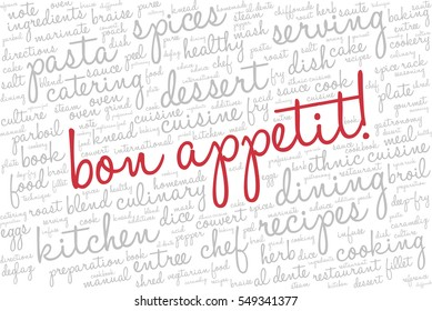 """Word cloud with words related to gastronomy, cooking, cuisine, healthy eating, food, catering with words """"Bon appetit!"""" emphasized in red"""