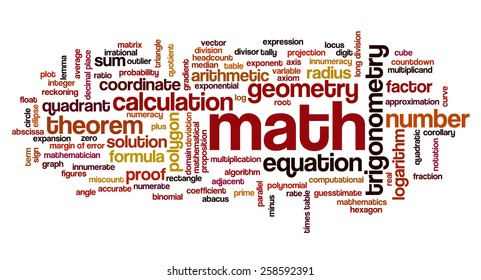 Word cloud with words related to mathematics, trigonometry, algebra, geometry and similar mathematical terms