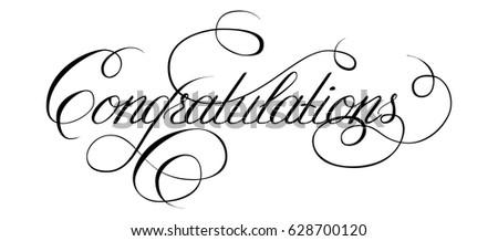 word congratulation written by hand pen stock vector royalty free