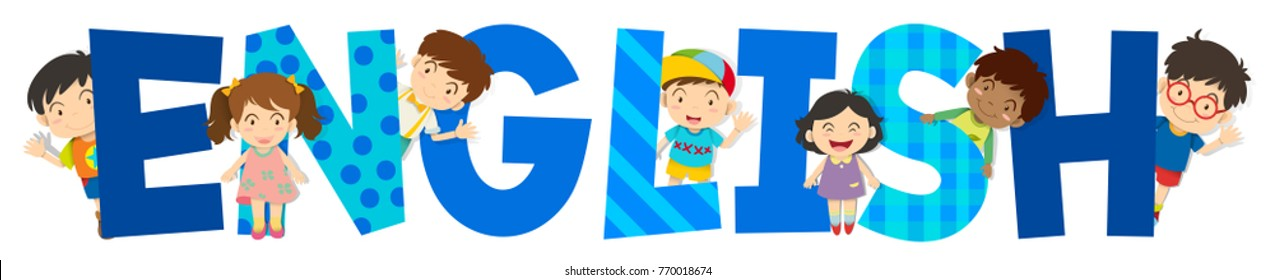 Word design for English with happy kids in background illustration