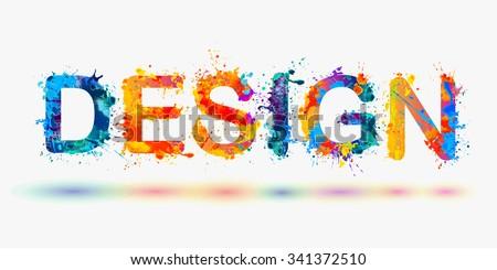 word design rainbow splash paint stock vector royalty free