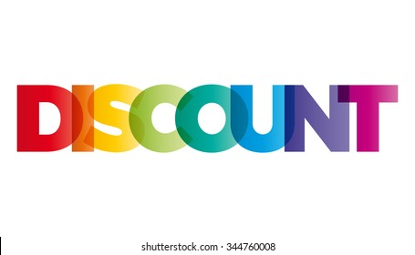 The word Discount. Vector banner with the text colored rainbow.