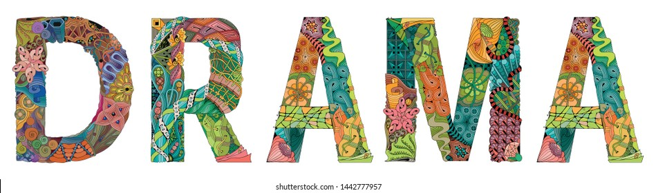 Word Drama. Vector zentangle object for decoration