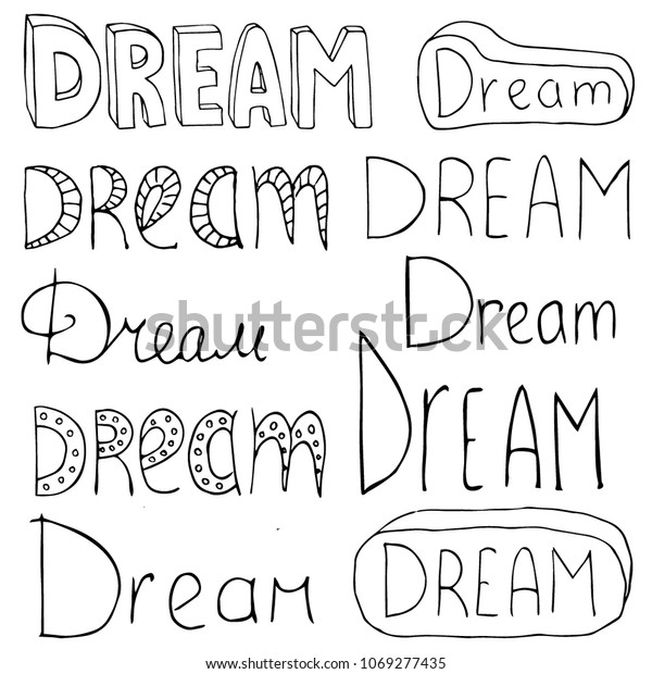 Word Dream Written Different Styles Vector Stock Vector