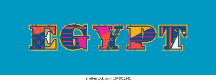 The word EGYPT concept written in colorful abstract typography. Vector EPS 10 available.
