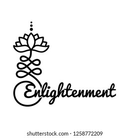 Word enlightenment and Buddhist symbol for life path with lotus flower
