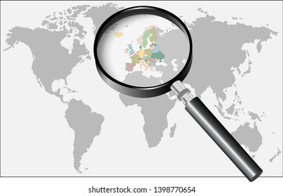 Word Europe under the magnifier