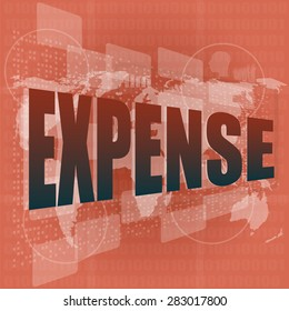 word expense on digital screen, business concept, vector