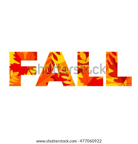 word fall made bright maple leaves stock vector royalty free
