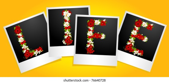 Word from flowers in photo frames. Vector