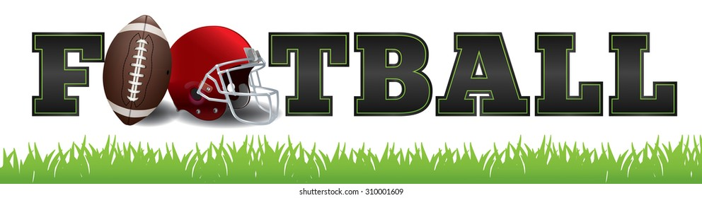 The word FOOTBALL written in letters, a football, and helmet illustration. Vector EPS 10 available. EPS file contains transparencies and gradient mesh.