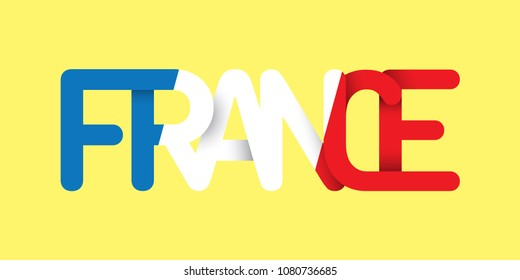 The word France in colors of the national flag. Concept Logo. Flat Vector Design Element.