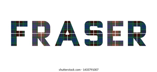 """The word """"Fraser"""" composed of letters from Fraser tartan."""