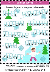 Word game: Rearrange the letters to unscramble 9 winter words! Answer included.