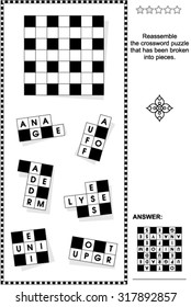 Word game: Reassemble the crossword puzzle that has been broken into pieces. Answer included.