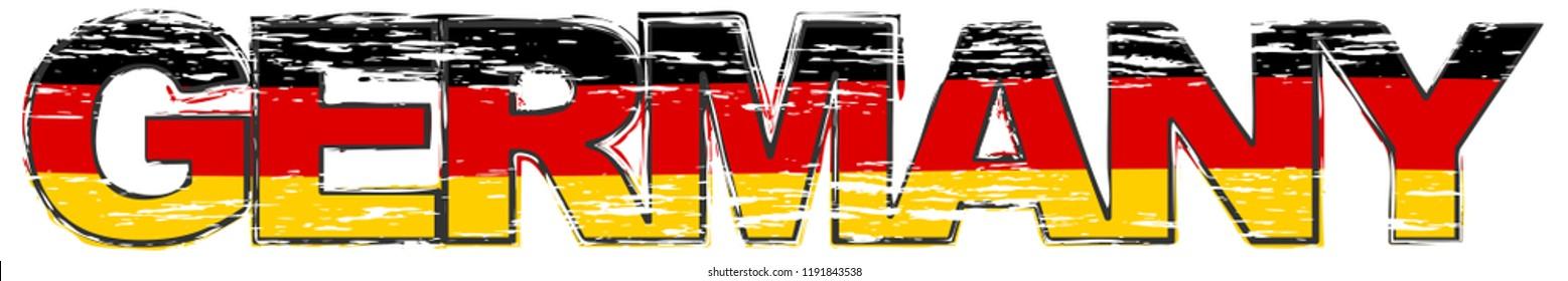 Word GERMANY with German flag under it, distressed grunge look.