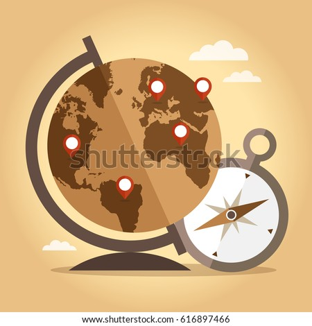 word globe pointers compass on vintage stock vector royalty free
